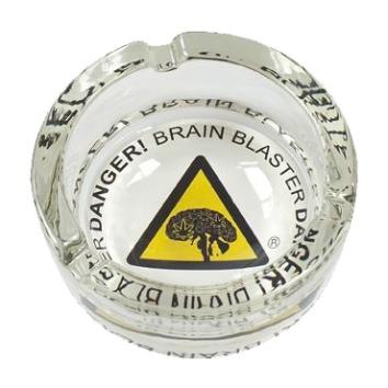 """Glass ashtray """"Danger! Brain Blaster"""""""